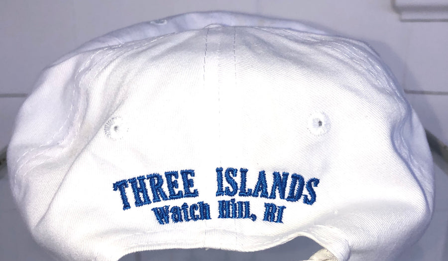 Three Islands 100% Cotton Baseball Hat in White