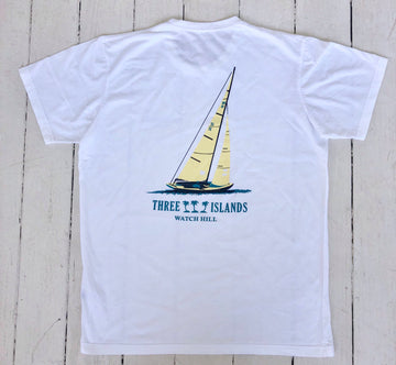 Three Islands Watch Hill 15 100% Cotton Short Sleeve T- Shirt in White