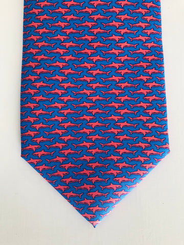 Bimini Silk Tie in Blue and Coral Shark Attack