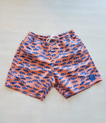 Padang Padang Swim Short in Coral Stripers