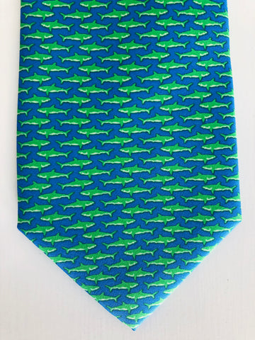 Bimini Silk Tie in Blue and Green Shark Attack