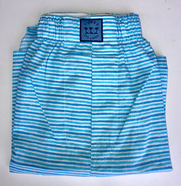 Block Island Boxer in Teal Stripes