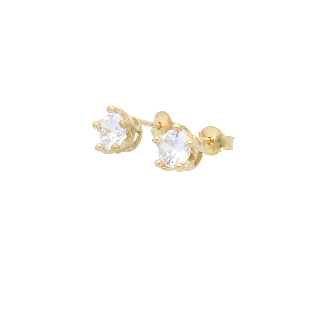 Queens Crown Stud Earrings with Clear CZ - Elias Serhan