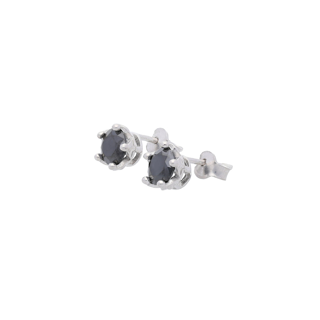 Queens Crown Stud Earrings with Black CZ - Elias Serhan