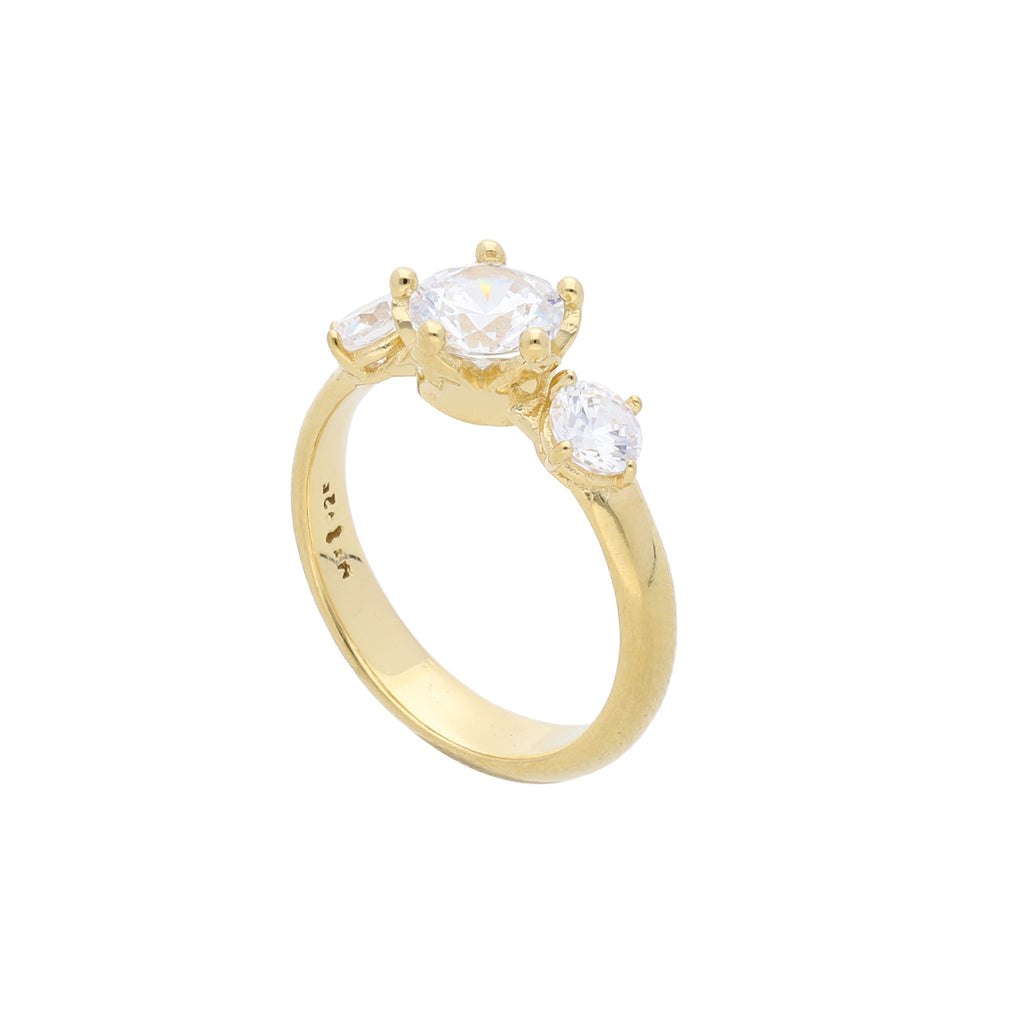 Queens Crown Ring Gold Plated with Clear CZ - Elias Serhan
