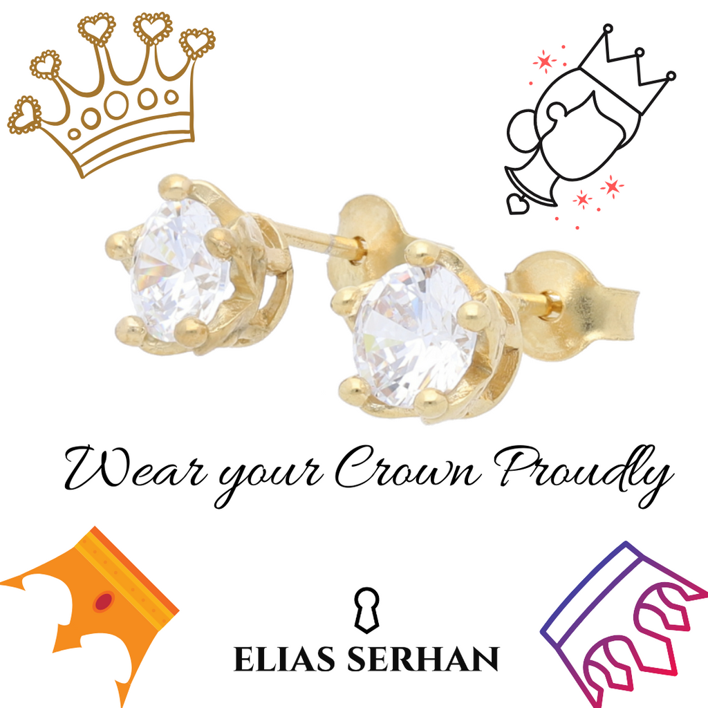 Queens Crown Stud Earrings with Clear CZ