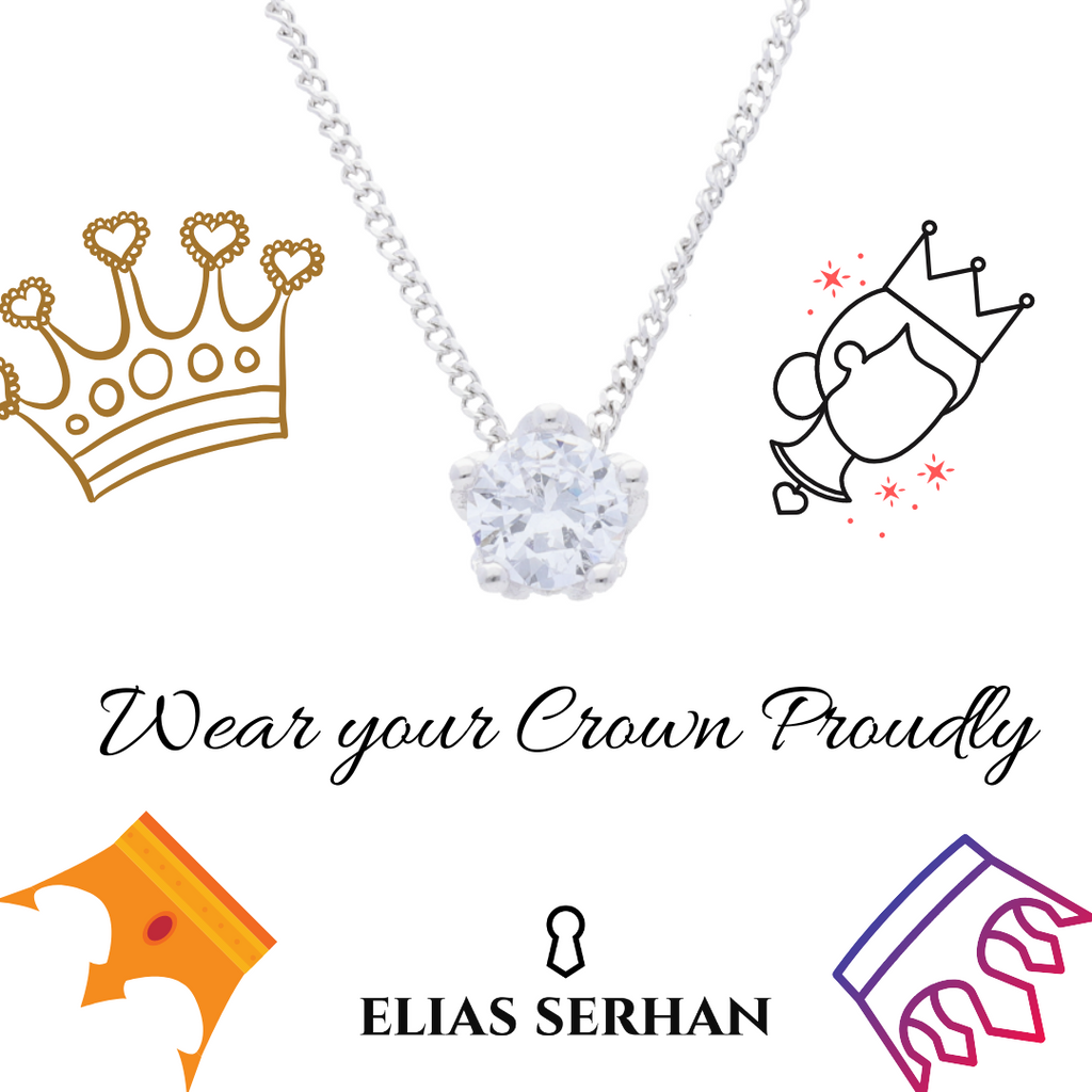 Queens Crown Pendant with Clear CZ
