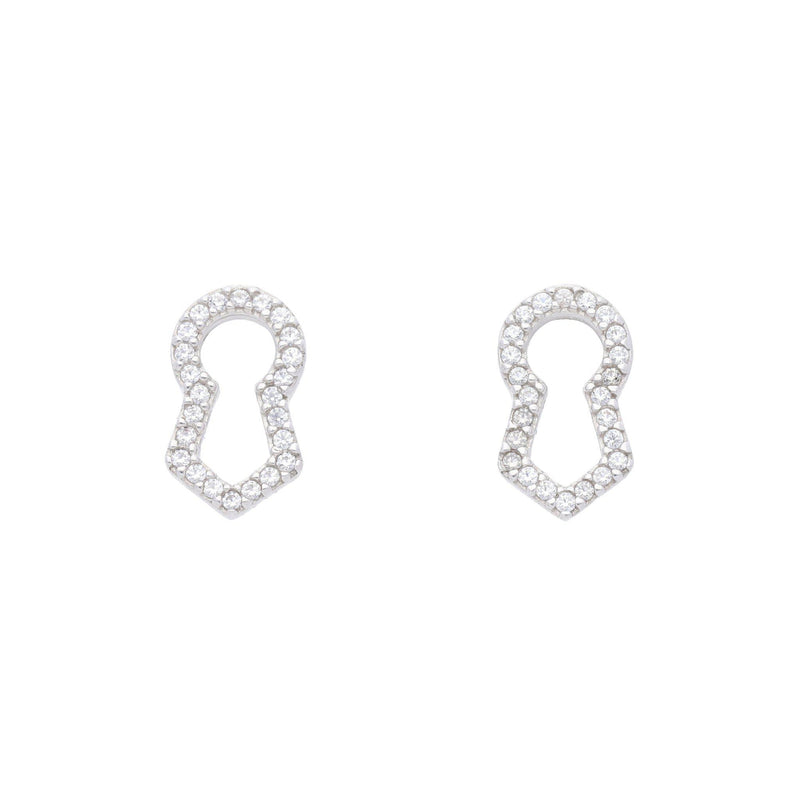 Keyhole Pave Stud Earrings with Clear CZ - Elias Serhan