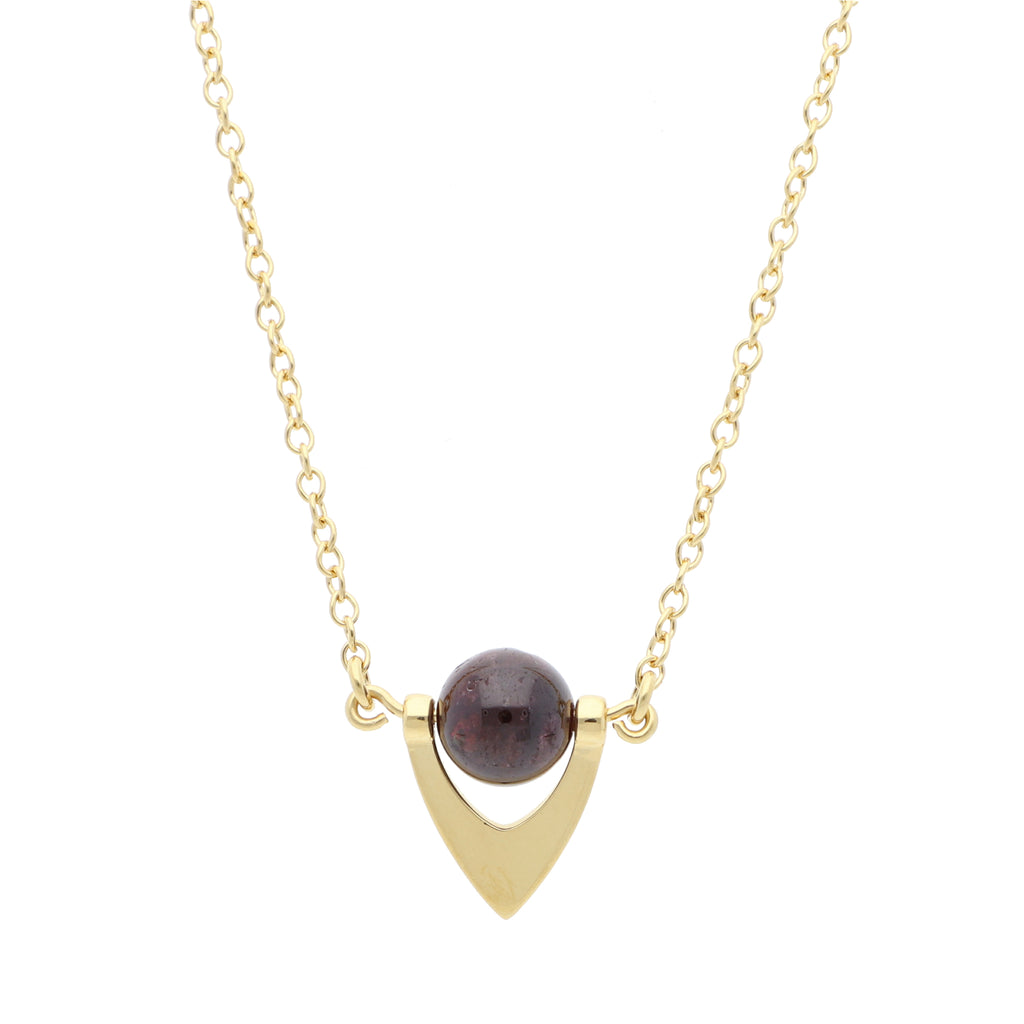 Core Short Pendant Red Garnet - Elias Serhan