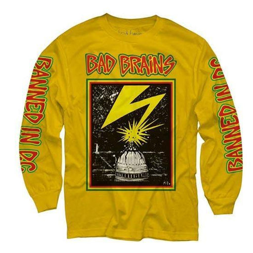 Long Sleeve Shirt - Bad Brains - Capitol on Yellow-Metalomania