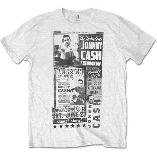 T-Shirt - Johnny Cash - Fabulous Show - White-Metalomania