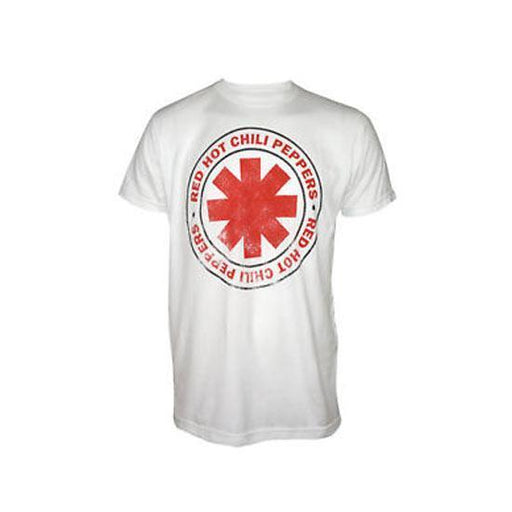 T-Shirt - Red Hot Chili Peppers - Outlined Logo - White-Metalomania
