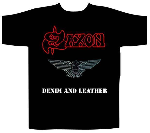 T-Shirt - Saxon - Denim & Leather-Metalomania
