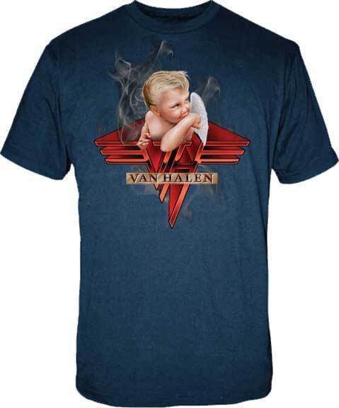 T-Shirt - Van Halen - Smoking Baby - Blue-Metalomania
