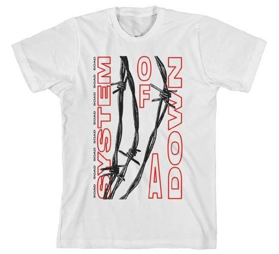 T-Shirt - System of a Down - Barbed Wire - White-Metalomania