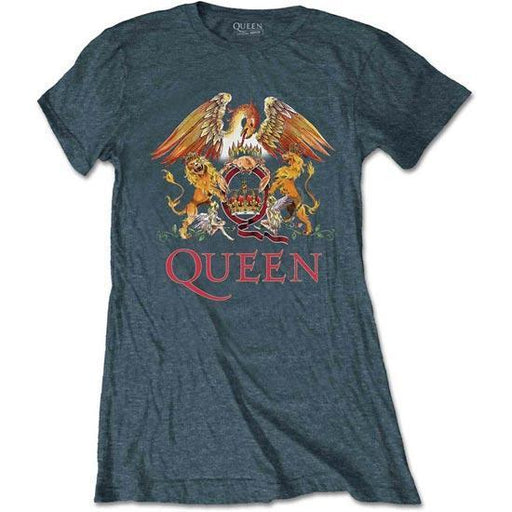 T-Shirt - Queen - Classic Crest - Heather - Lady-Metalomania