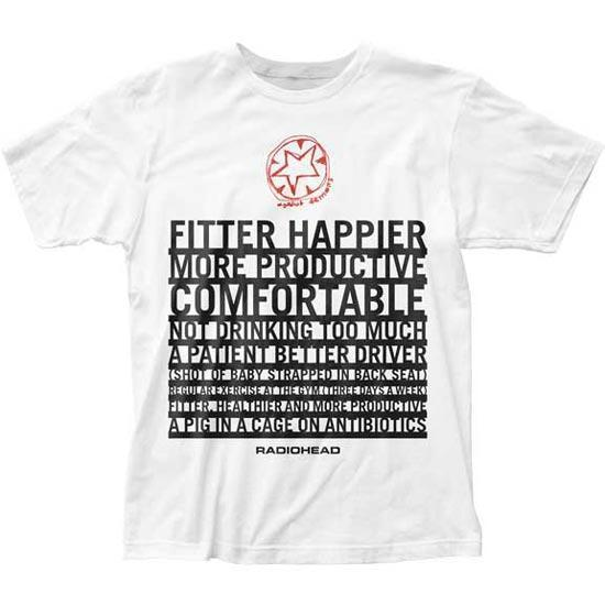 T-Shirt - Radiohead - Fitter Happier - Organic Cotton - White-Metalomania