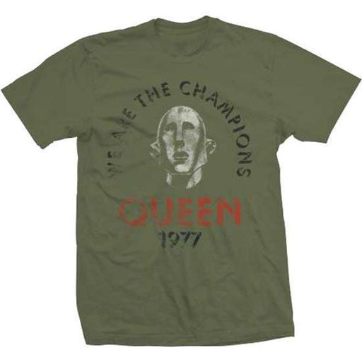 T-Shirt - Queen - We are the Champions - Distressed - Green-Metalomania