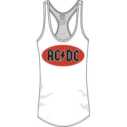 Tank Top - ACDC - Oval Logo - Lady - White