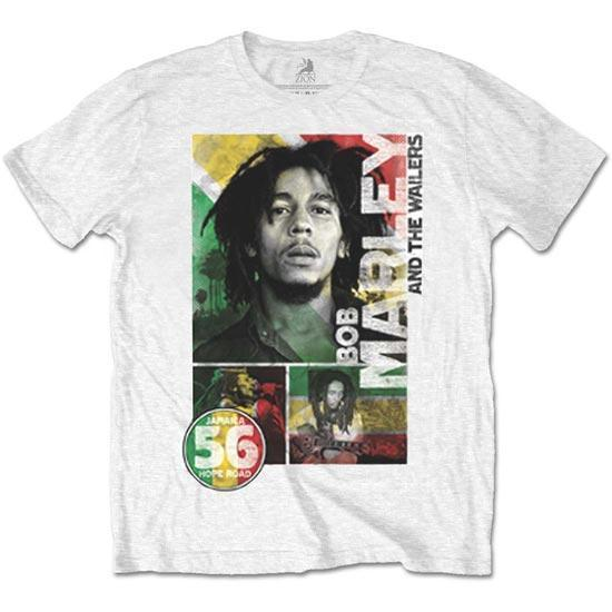 T-Shirt - Bob Marley - 56 Hope Road Rasta - White-Metalomania