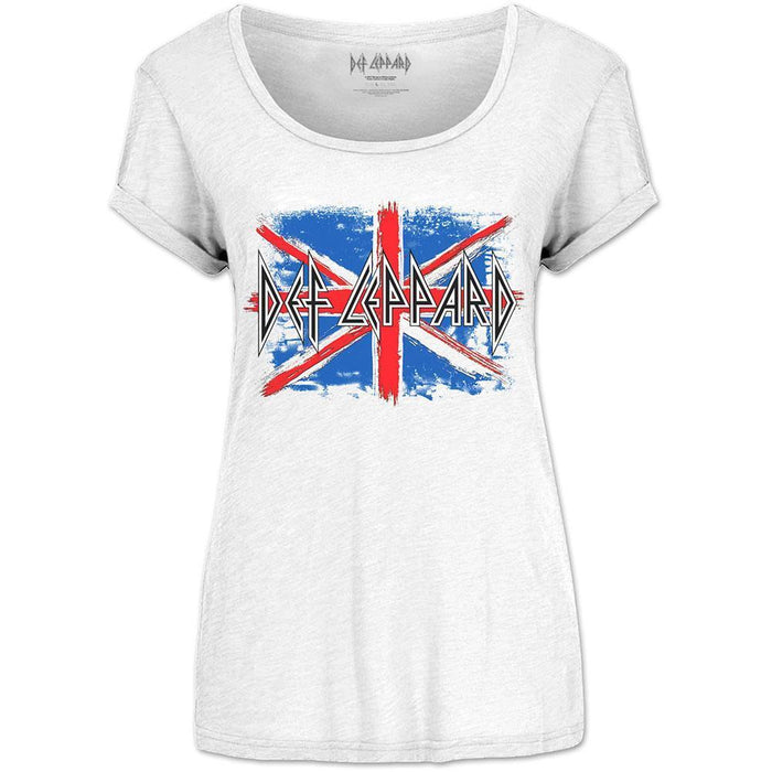 T-Shirt - Def Leppard - Union Jack - Lady - White-Metalomania