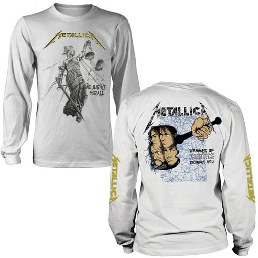 Long Sleeve Shirt - Metallica - And Justice For All - White-Metalomania