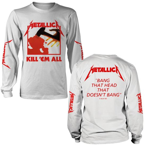 Long Sleeve Shirt - Metallica - Kill Em All - White-Metalomania