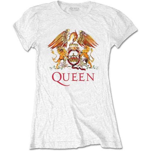 T-Shirt - Queen - Classic Crest - White - Lady-Metalomania