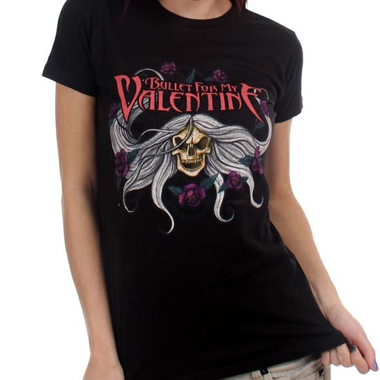 T-Shirt - Bullet For My Valentine - Skulls & Flowers (lady)-Metalomania