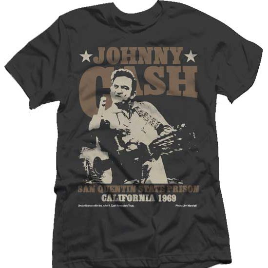 T-Shirt - Johnny Cash - San Quentin Stars-Metalomania