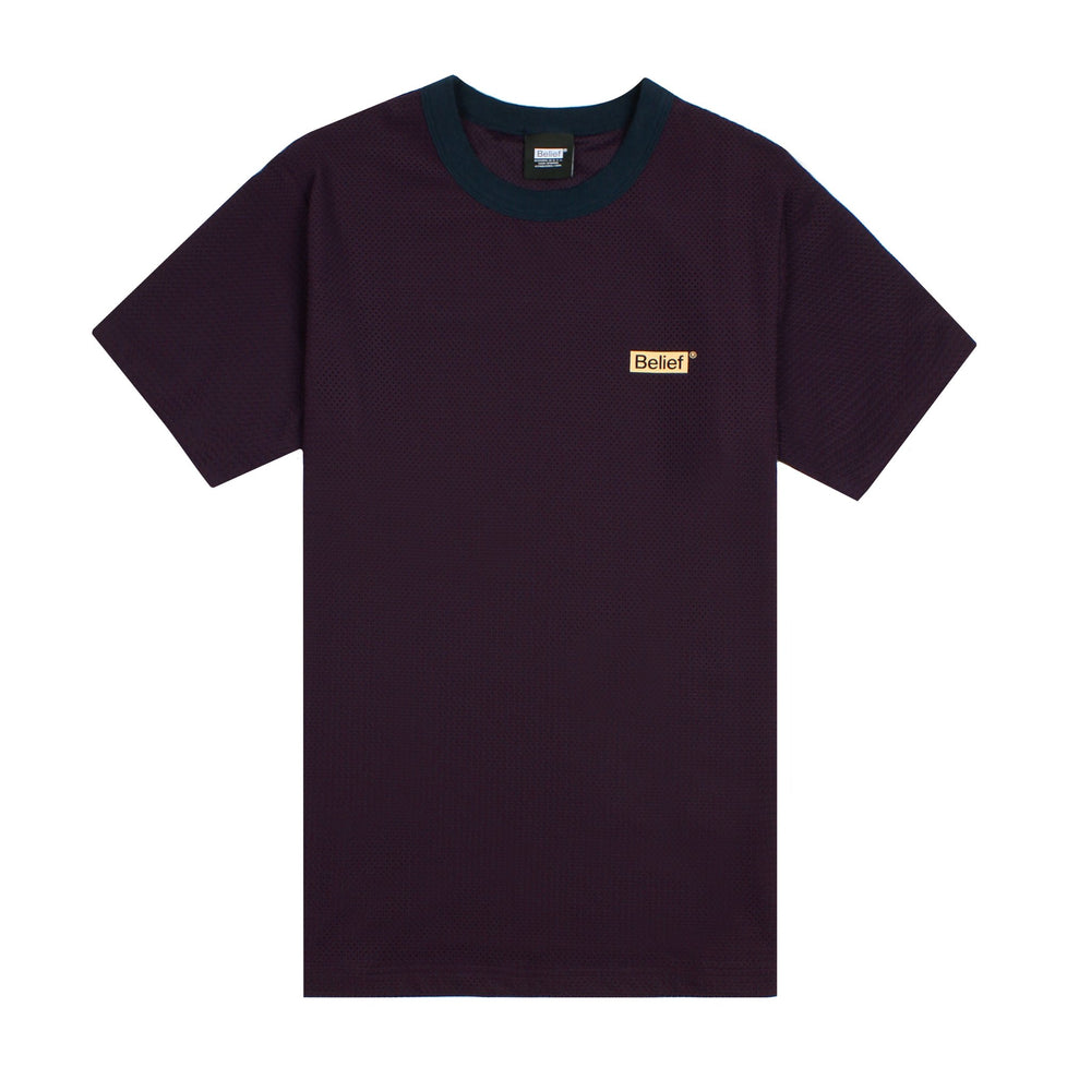 Belief NYC Box Logo Mesh Tee - Blackberry
