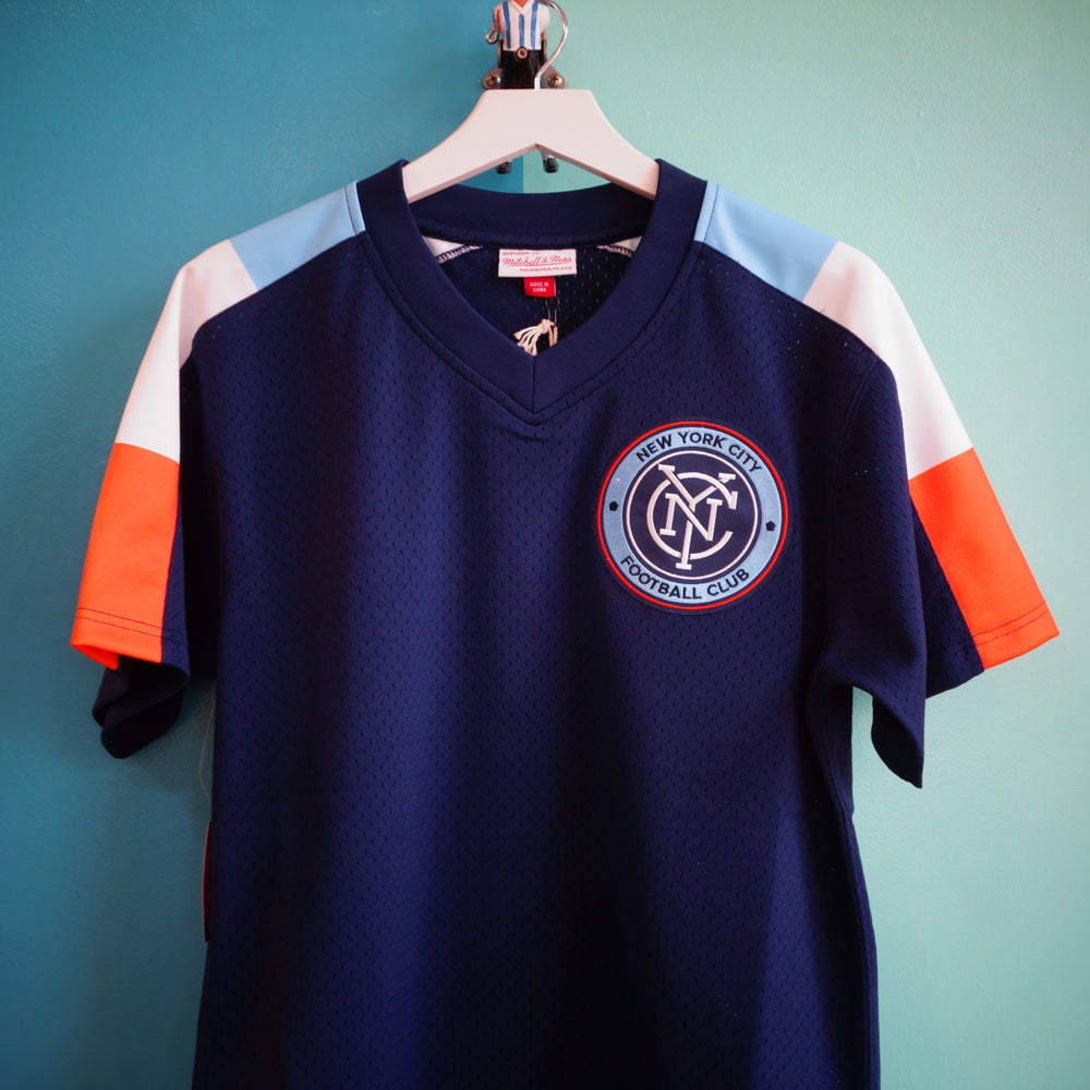 Mitchell & Ness NYCFC Winning Team Mesh V-Neck Jersey - Village Soccer Shop