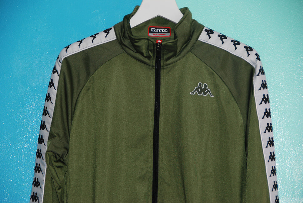 Kappa 222 Banda Anniston Jacket - Military Green/White - The Village Soccer Shop