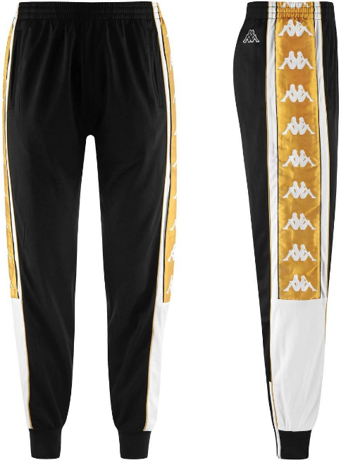 Kappa 222 Banda 10 Ahran Pants - Black/White/Gold