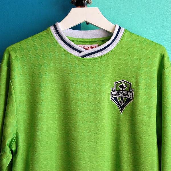 promo code 4d003 418e6 Mitchell & Ness Seattle Sounders MLS Throw-In Long Sleeve Retro Jersey