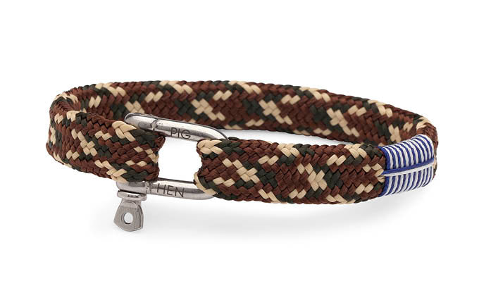 PIG & HEN - Sharp Simon Rope Bracelet - Ochre/Sand/Brown Camo