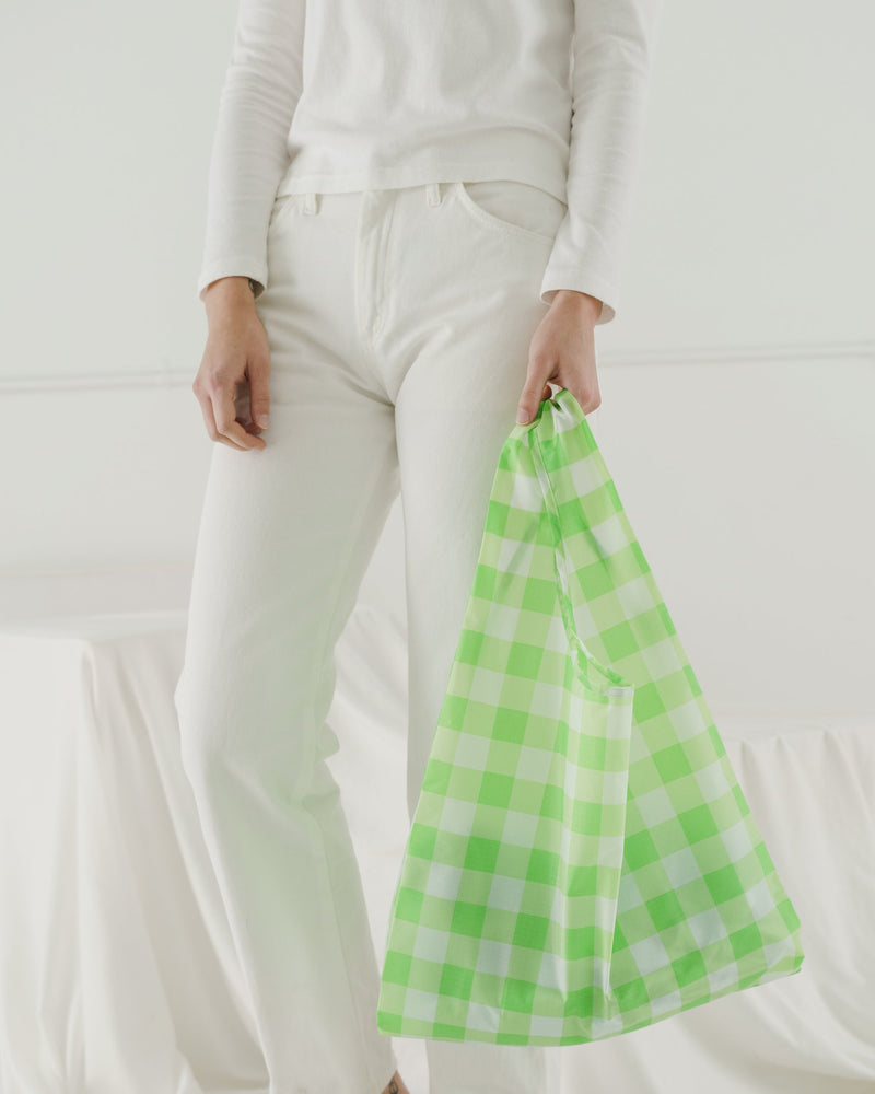 Baggu Standard Reusable Bag - Big Check Lime
