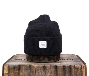 Upstate Stock 100% Wool Watchcap- Black