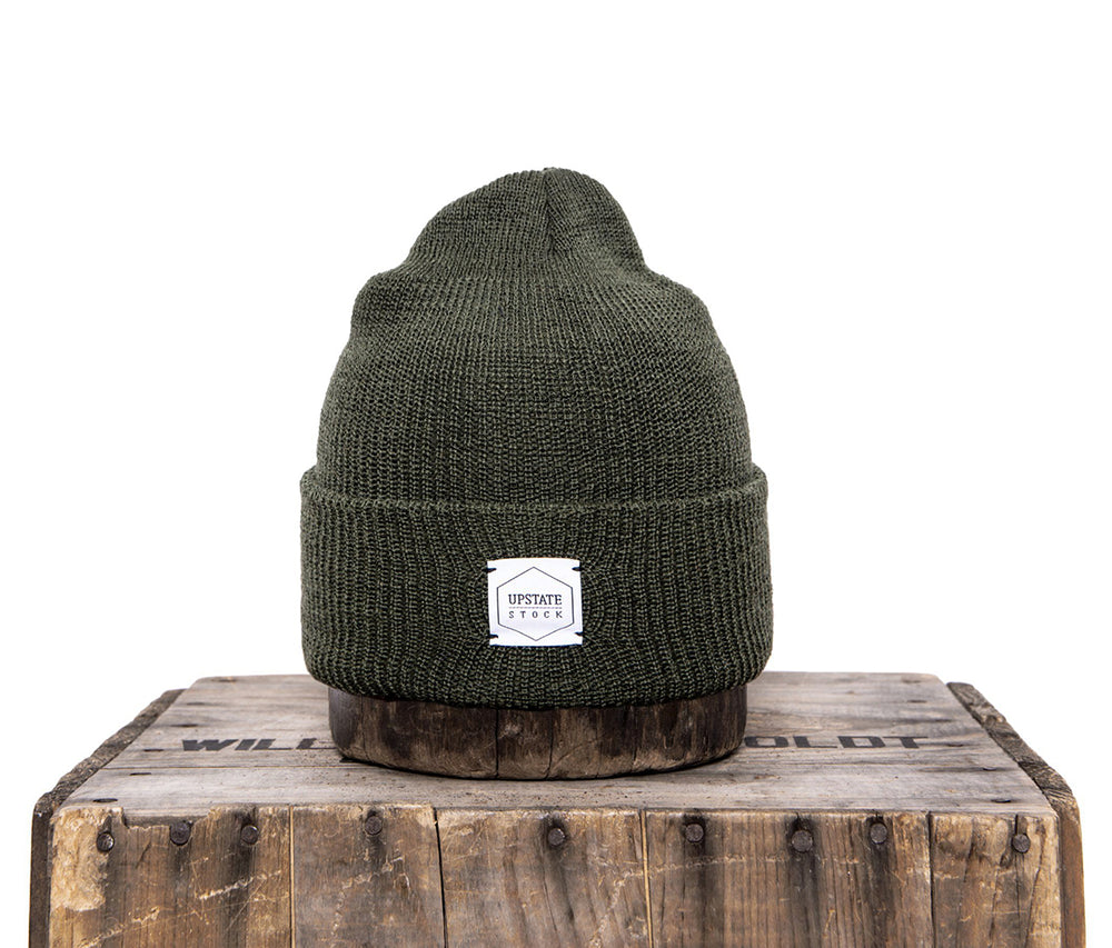 Upstate Stock 100% Wool Watchcap - Olive