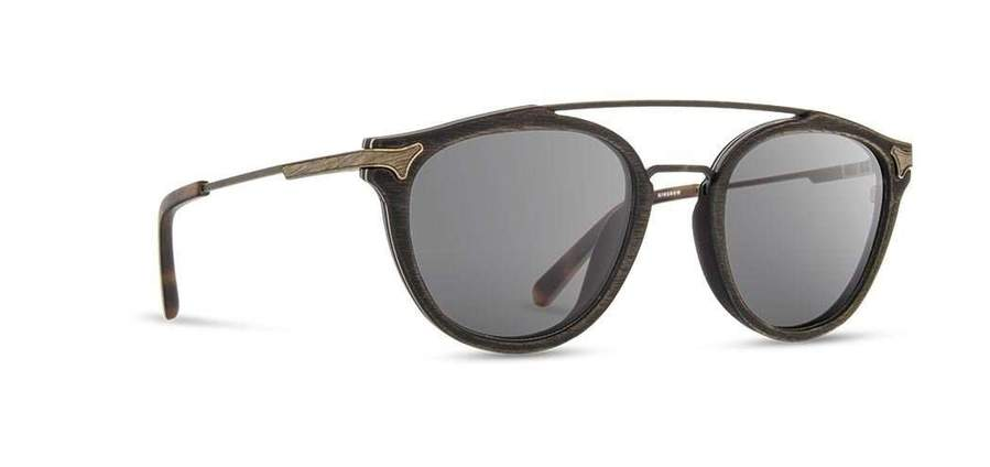 Shwood Kennedy Wood Sunglasses - Distressed Dark Walnut - Grey Polarized