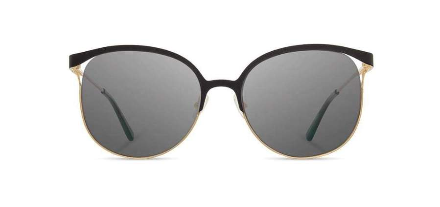 Shwood Odessa Metal Sunglasses - Obsidian & Gold - Grey
