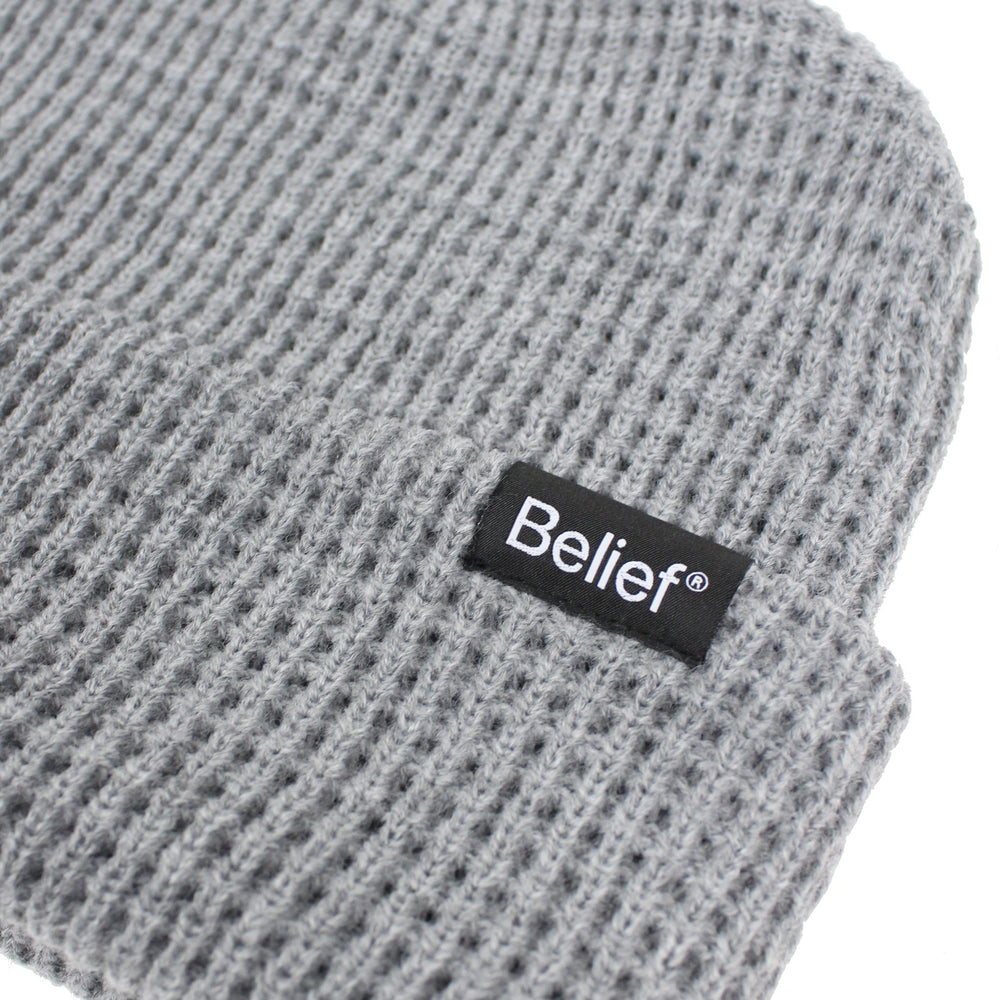Belief NYC Waffle Beanie - Heather Grey