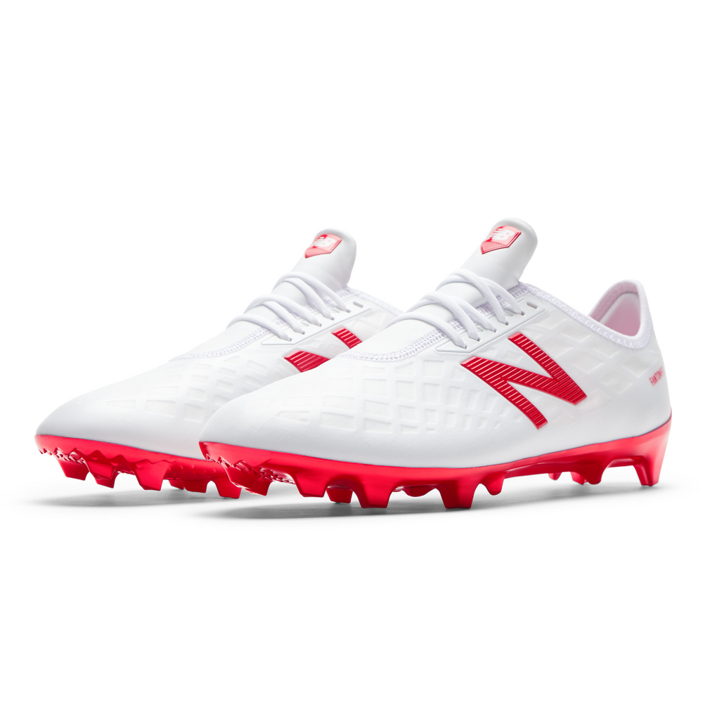 58977b567435 New Balance Furon 4.0 Pro Fg (WIDE) Soccer Boots - White/Flame – The  Village Soccer Shop.