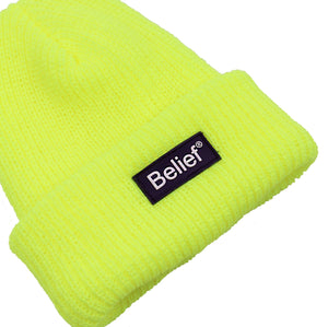Belief NYC Neon Logo Beanie - Safety Yellow