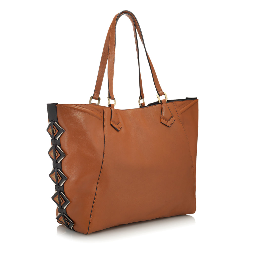 power tote chestnut color handbag