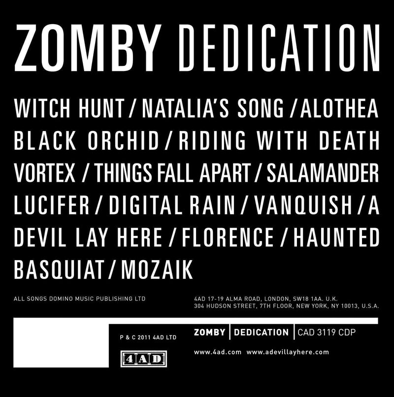 Zomby - Dedication (2xLP + Download Card) 4AD