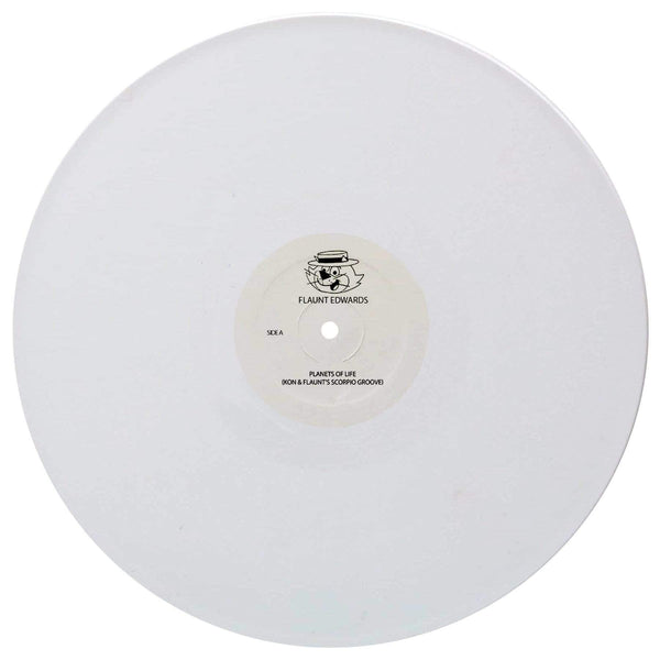 "Flaunt Edwards - Planets Of Life (Kon & Flaunt's Scorpio Groove) b/w Groove Game (Flaunt Edwards Edit) & Overweight (J.Rocc Edit) (12"" - White Vinyl) Beat Junkie Sound"