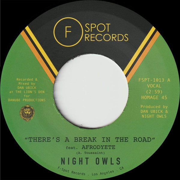 "Night Owls - There's A Break in the Road b/w Inner City Blues (Make Me Wanna Holler) (7"") F-Spot Records"