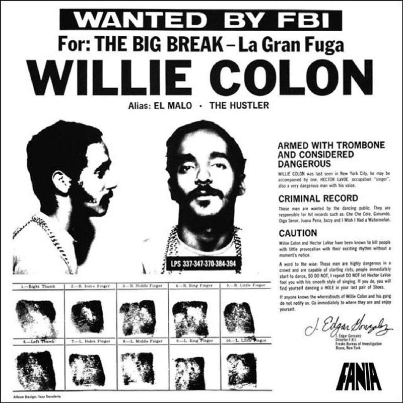 Willie Colon - Wanted By The FBI/The Big Break: La Gran Fuga (LP - Black Vinyl) Get On Down