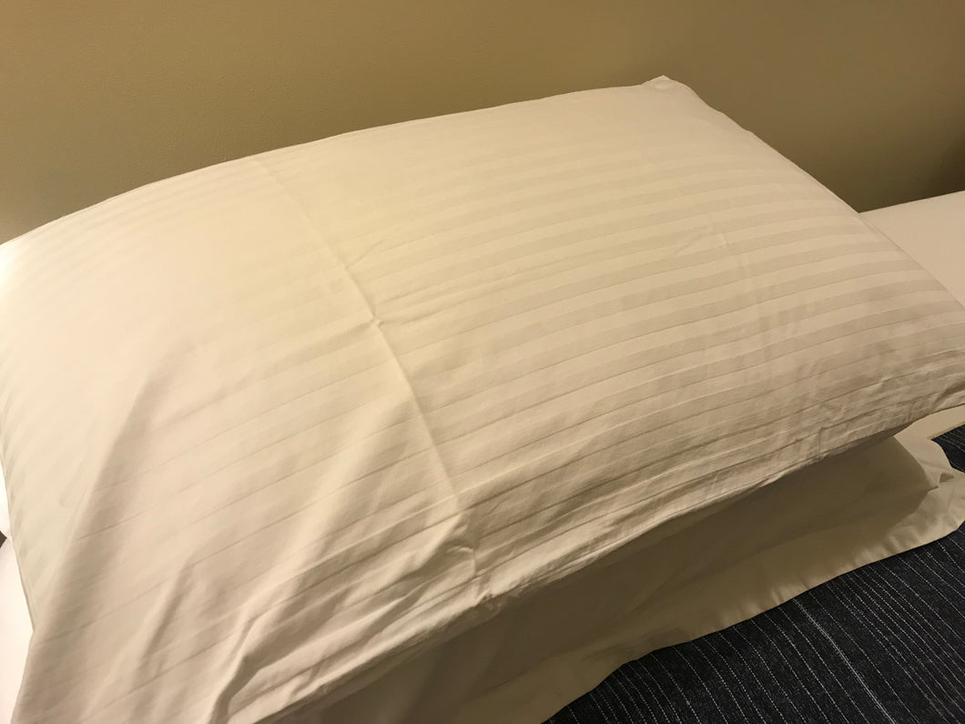 250tc Pillow Cases Self Stripe with Flange